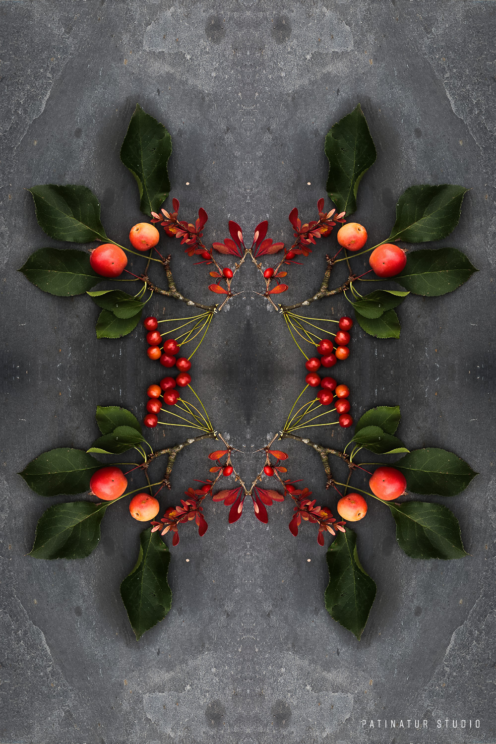 Photo art | Botanical caleidoscope in orange and red