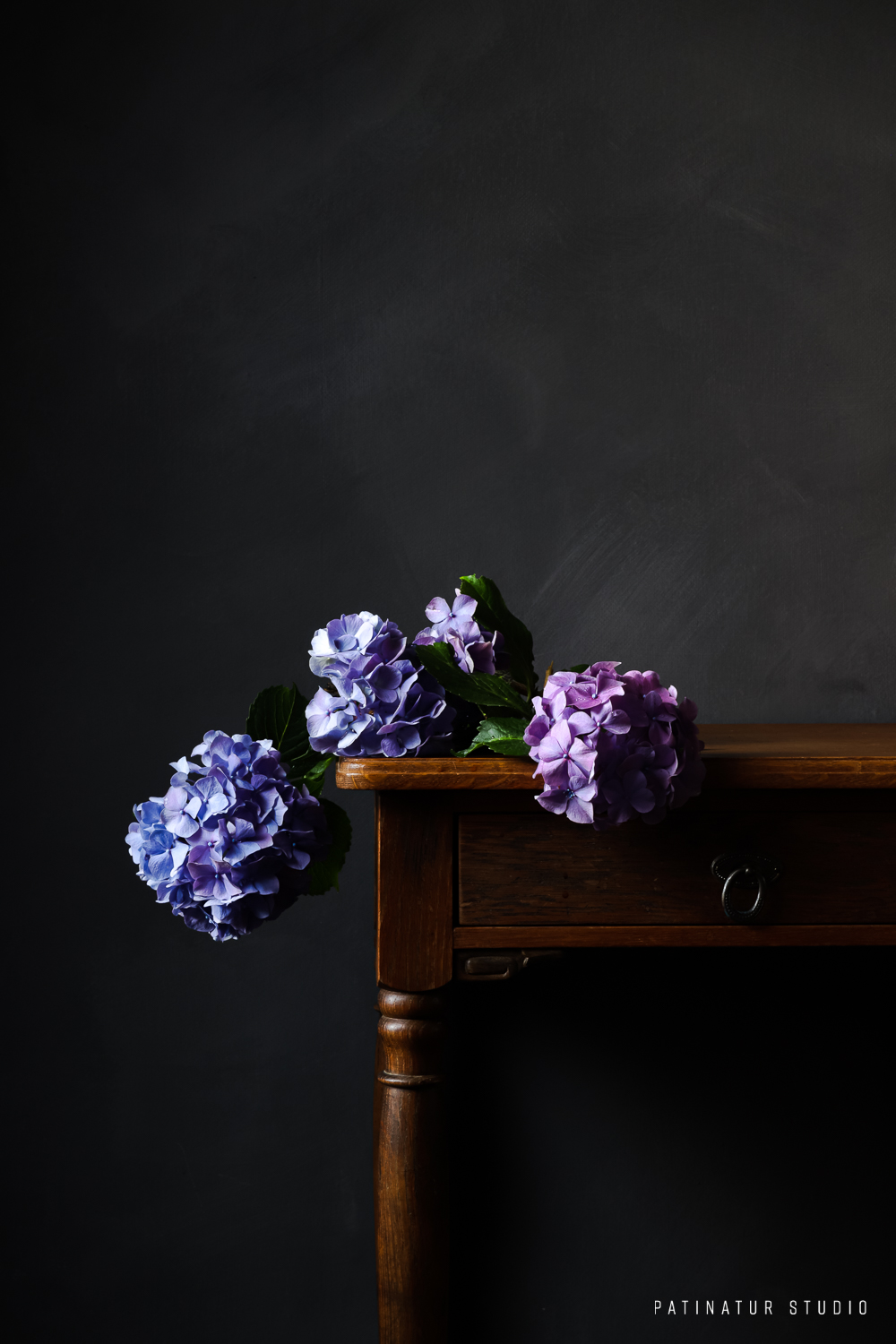 Photo art | Dark and moody still life with hydrangeas lying on wooden vintage side table