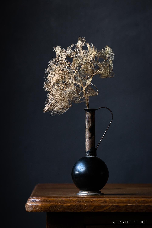 Dark and moody still life photo with hydrangea seedhead in small black vase