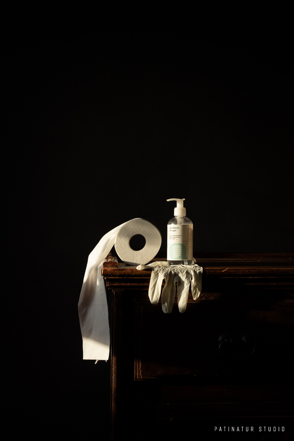 Photo Art | Corona pandemic 'Old Master' inspired still life with toilet paper, hand sanitizer and protective glove.