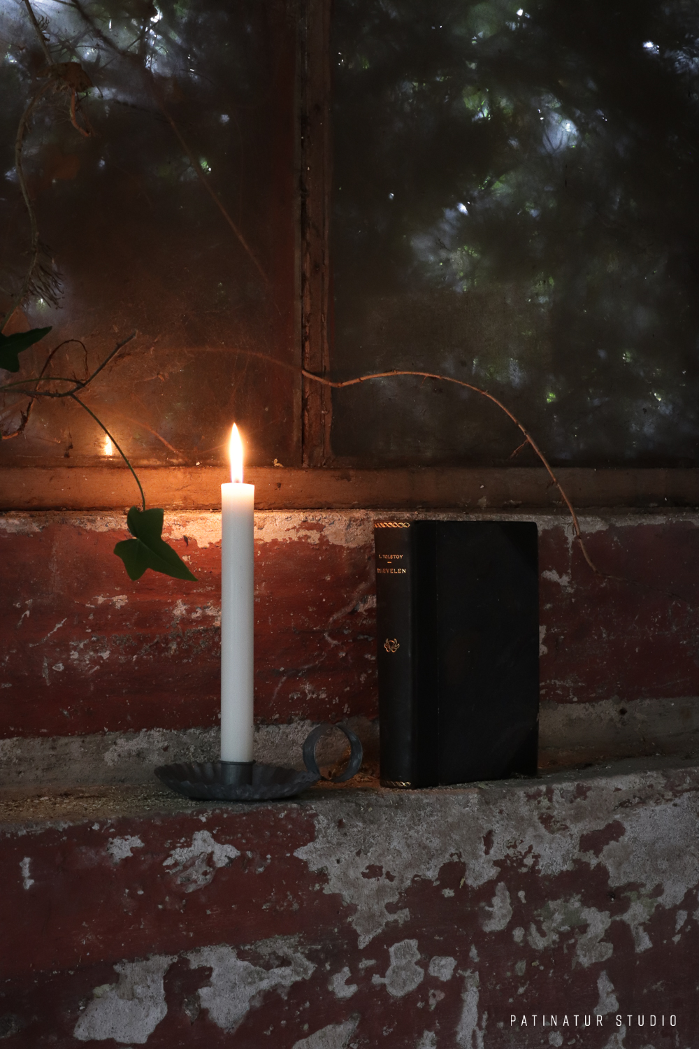 Photo art: Rustic still life photo with book and candle