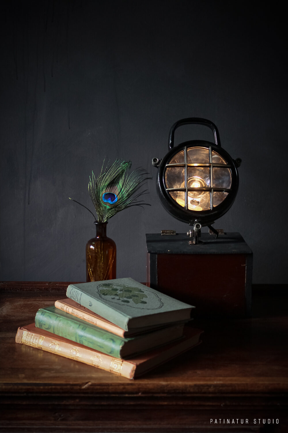 Photo Art | Dark and moody still life with vintage books, lamp and peacock feather
