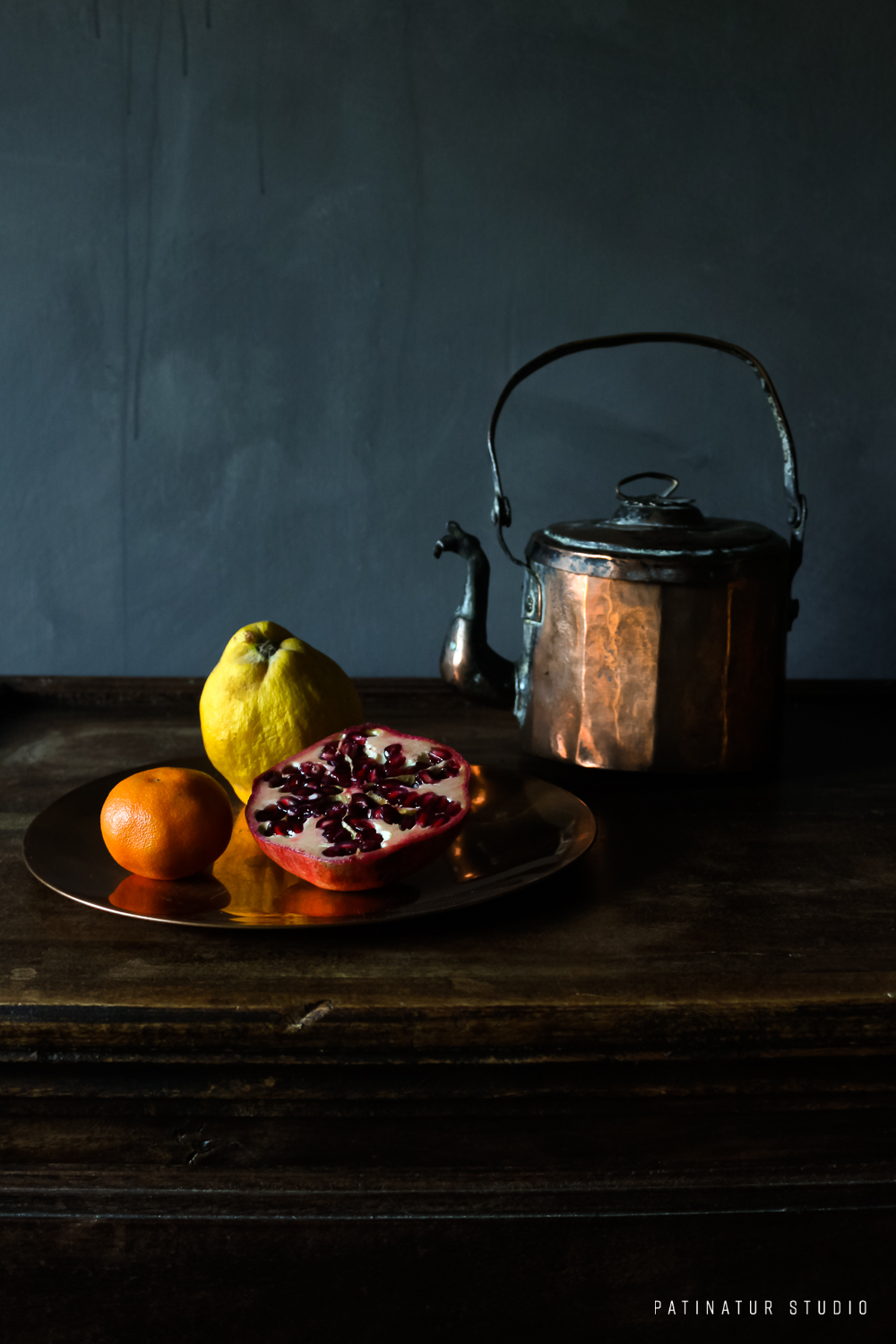 Photo Art | Dark and moody still life with fruit plate and copper kettle
