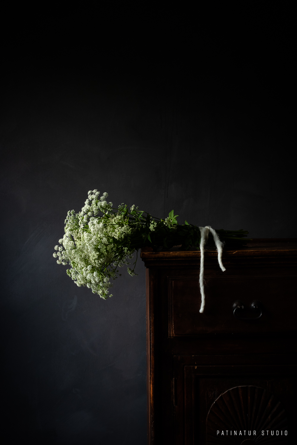 Photo Art | Dark and moody floral still life with bouquet of ground elder